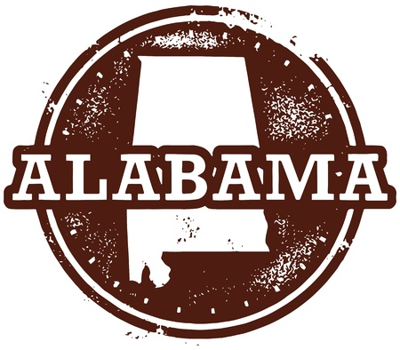 Vintage Style Alabama USA Stamp Vector