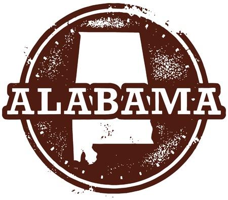 alabama: Vintage Style Alabama USA Stamp