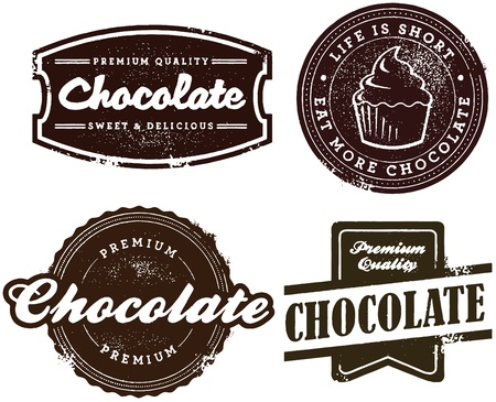 Chocolate Dessert Stamps Vector