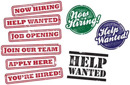 help wanted: Help Wanted and Now Hiring SignsStamps Illustration