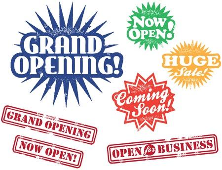 Grandes Sellos de apertura de negocios Ilustración de vector