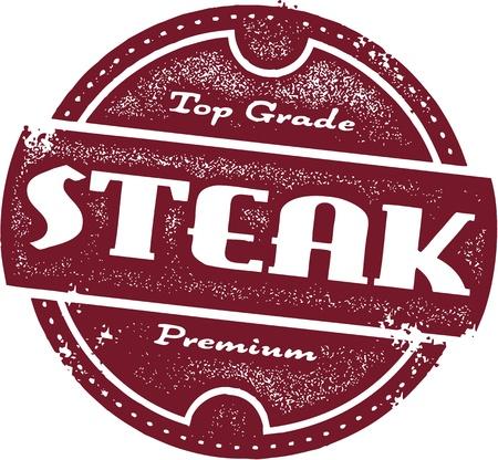 t bone steak: Vintage Steak Sign Illustration