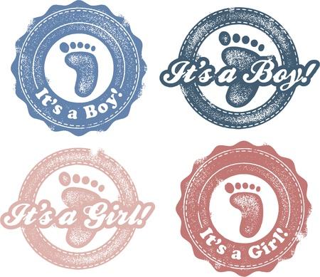 소녀 새로운 아기 우표 - 빈티지 그것은 소년 SA 일러스트