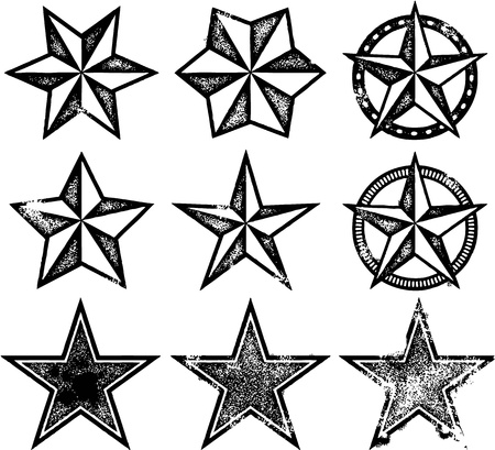 rubber stamp: Grunge Distressed Stars Illustration