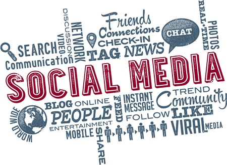 m�dia: Social Media da nuvem da palavra