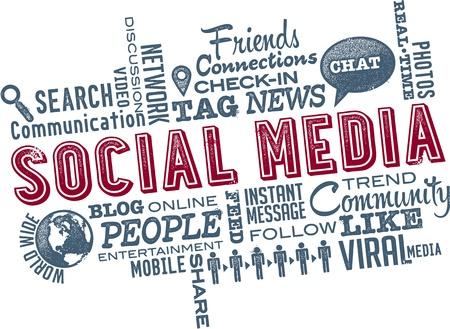 Sociale Word Cloud médias Banque d'images - 18583694