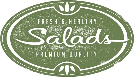 vegetarian: Vintage Fresh Salads Menu Stamp Illustration