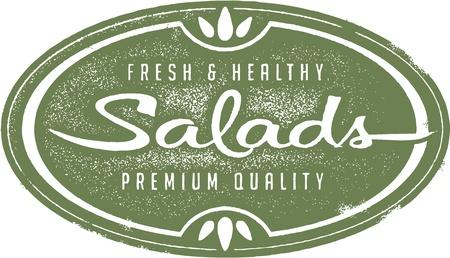 Vintage salades fraîches Menu Stamp