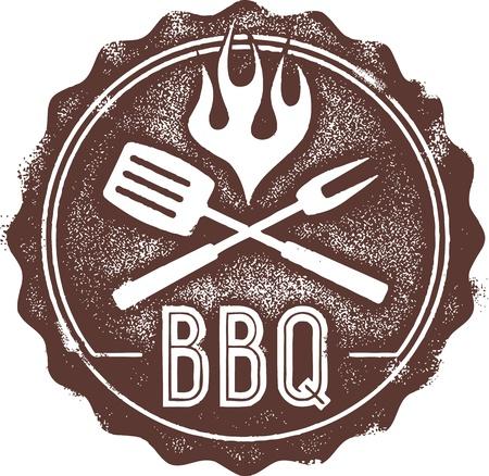 pique nique en famille: Vintage Barbecue BBQ Stamp Sceau
