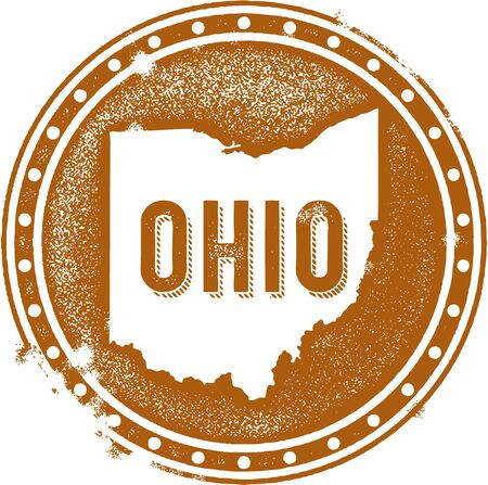 the great lakes: Ohio USA State StampSeal Illustration
