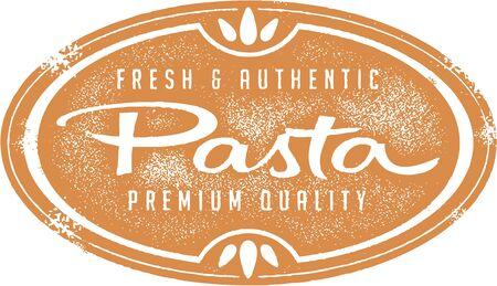 macaroni: Vintage Fresh Pasta Stamp Illustration