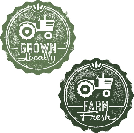 Vintage Farm Fresh and Grown Locally Vector