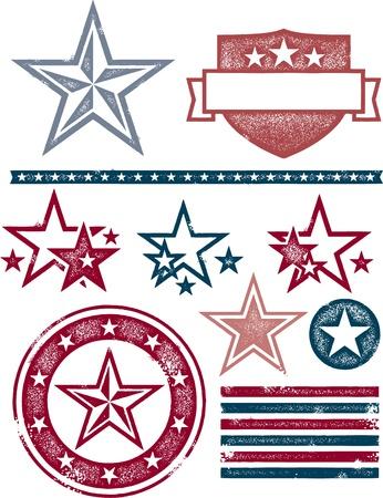 estrellas: Vintage Estrellas patri�ticas y rayas Vectores