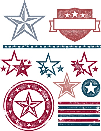 Vintage Patriotic Stars and Stripes Vector