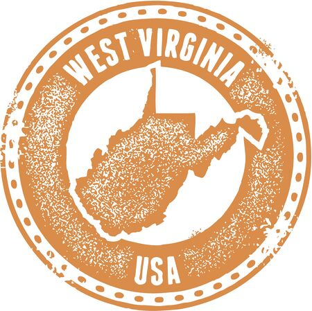 virginia: Vintage West Virginia USA State Stamp Illustration