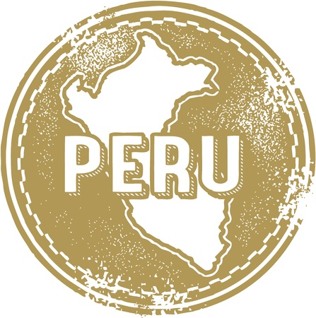 Vintage Peru South America Stamp Vector