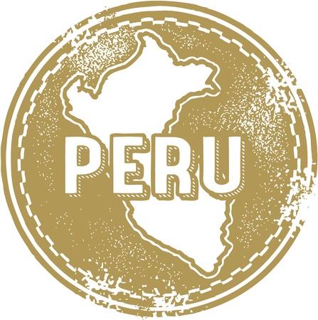 stempel reisepass: Weinlese Peru S�damerika Stamp Illustration