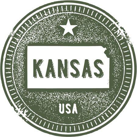 Vintage Kansas USA State Stamp Stock Vector - 18713290