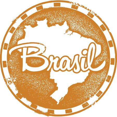 brasil: Vintage Brasil South America Stamp Illustration