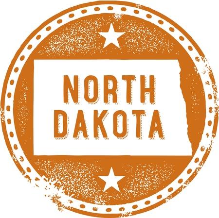 midwest: Vintage North Dakota USA State Stamp Illustration
