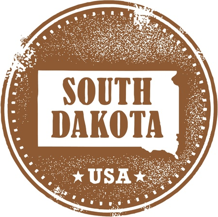 midwest: Vintage South Dakota USA State Stamp