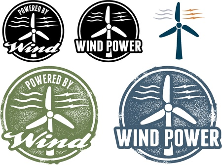 Wind Power Stamps and Icons Vector