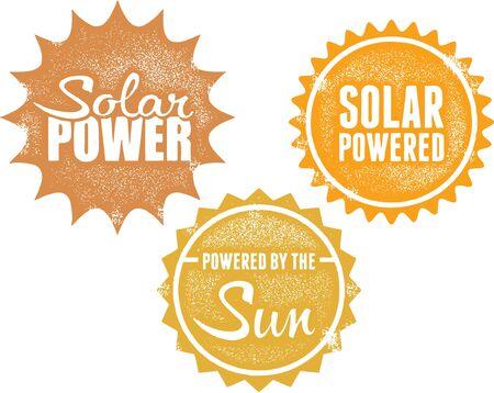 Solar Power Energy Stamps Иллюстрация