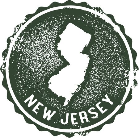 rubber stamp: Vintage New Jersey USA State Stamp Illustration