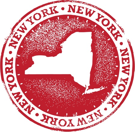 niagara falls city: Vintage New York USA State Stamp Illustration