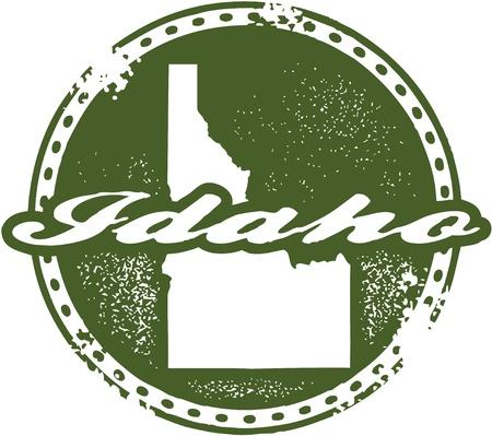 idaho state: Vintage Idaho USA State Stamp
