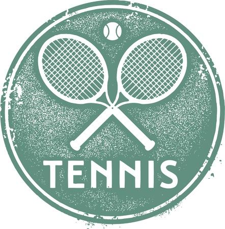 Vintage Tennis Sport Stamp Stock Vector - 19156789