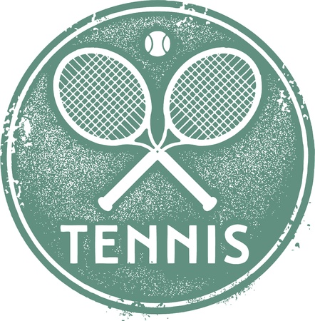 Weinlese-Tennis-Sport Stamp Illustration