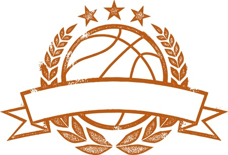 Grunge Basketball Laurel Wreath Crest