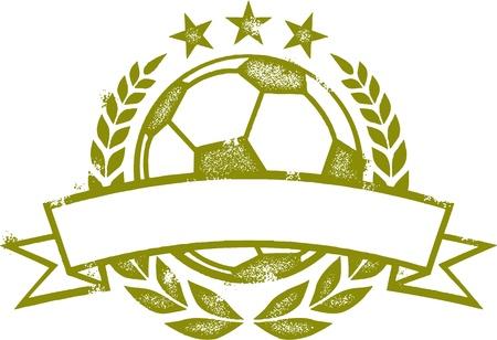 pelota de futbol: Grunge Soccer Crest Laurel Wreath