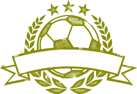Grunge Soccer Laurel Wreath Crest Vector