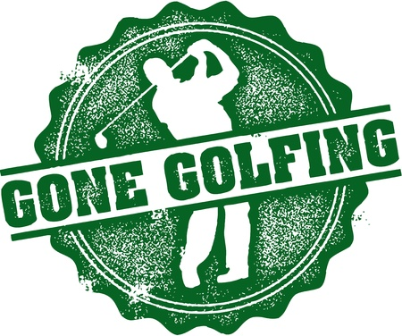 golfing: Gone Golfing Stamp Illustration