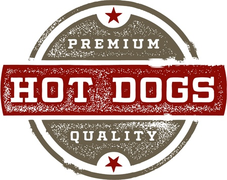 Premium Hot Dogs Vintage Sign Vector