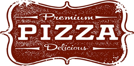 Vintage Premium Pizza Sign Çizim