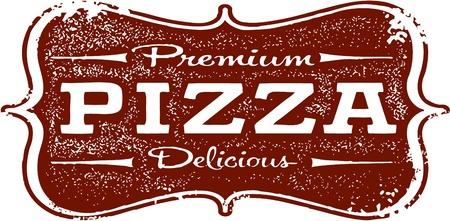 pizzeria: Vintage Premium Pizza Sign Illustration