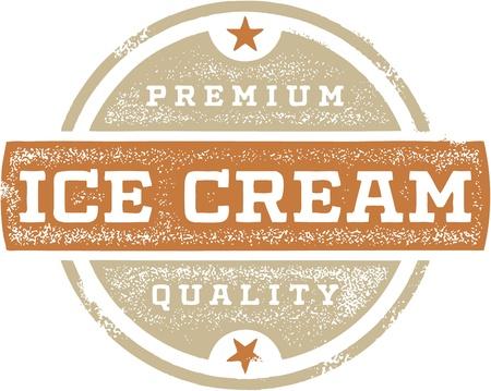 プレミアム アイス クリーム ビンテージ サイン  イラスト・ベクター素材