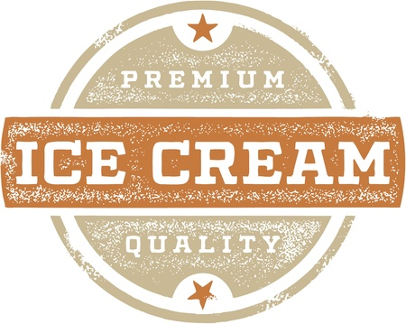 Premium Ice Cream Vintage Sign Vector