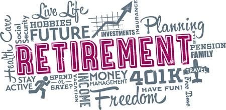 Planificación de la jubilación Word y Cloud Icono
