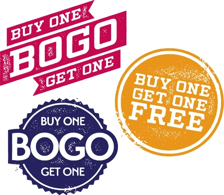 Buy One Get One Free - BOGO Stamps Stock Vector - 19356679