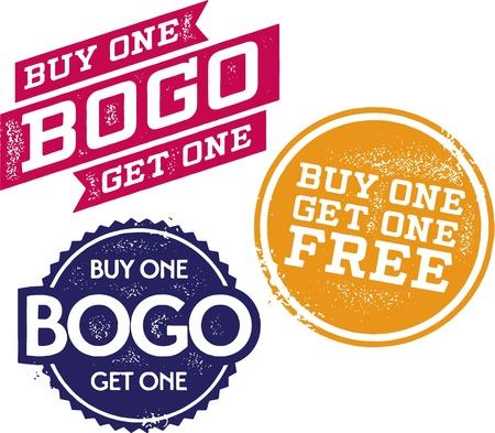 Buy One Get One Free - BOGO Stamps Illustration