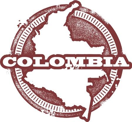 コロンビアの南アメリカの国のスタンプ