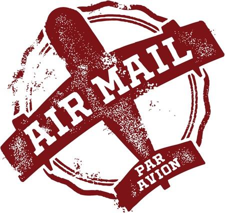 postmark: Weinlese-Luftpost Poststempel Illustration