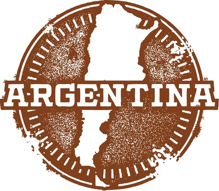 buenos: Vintage Argentina South America Stamp Illustration