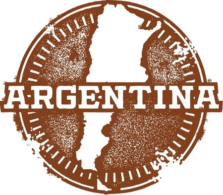 Vintage Argentina South America Stamp Illustration
