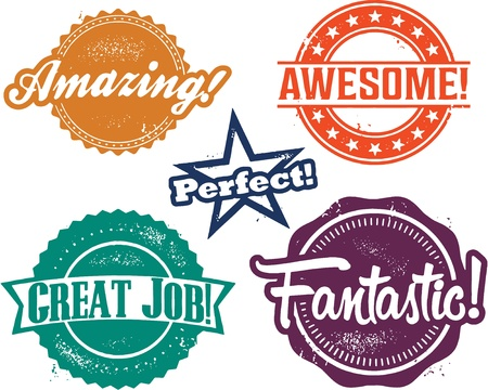 Great Awesome Job Recognition Stamps Illustration