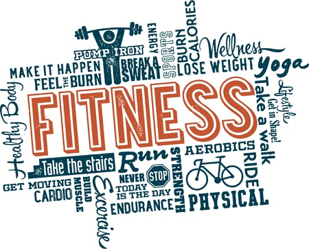 workout gym: Fitness and Health Word and icon Cloud